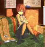 black_legwear brown_hair brown_legwear calendar calendar_(object) couch eraser feet girigiri hug jacket long_hair makise_kurisu naughty_face necktie panties panties_under_pantyhose pantyhose sitting smile solo steins;gate stuffed_toy underwear upa whiteboard