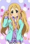alternate_hairstyle blonde_hair blue_eyes blush hand_in_hair k-on! kotobuki_tsumugi leggings long_hair looking_at_viewer neki neki_(wakiko) pantyhose polka_dot polka_dot_legwear shorts smile solo sweater t-shirt twintails