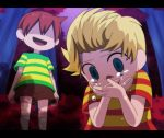 blonde_hair blue_eyes bush claus covering covering_face covering_mouth crying crying_with_eyes_open dark forest hidden_eyes komeichou-69 letterboxed lucas mother_(game) mother_3 multiple_boys nature open_mouth red_hair redhead shaded_face shirt shorts siblings smile striped striped_shirt tears twins