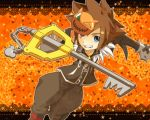 alternate_costume blue_eyes brown_hair deviltd fang gloves keyblade kingdom_hearts male solo sora_(kingdom_hearts)