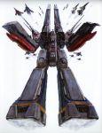 absurdres aircraft_carrier choujikuu_yousai_macross daedalus flying highres macross mecha oldschool prometheus_(ship) realistic scan science_fiction sdf-1 ship space_craft storm_attacker tenjin_hidetaka vf-1 vf-1a vf-1j vf-1s