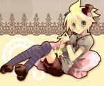 blonde_hair blush cat cushion flower hat kagamine_len male rose shorts solo striped striped_legwear striped_thighhighs thigh-highs thighhighs vocaloid wakakohime_moe wristband