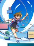 bad_id bag brown_eyes brown_hair fishing fishing_rod holding holding_fishing_rod kyaperin lure pencils randoseru short_hair umihara_kawase umihara_kawase_(character)
