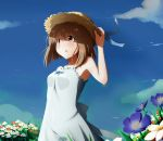 bare_shoulders blush brown_eyes brown_hair cloud dress flower hagiwara_yukiho hat highres holding holding_hat idolmaster open_mouth rariemonn short_hair sky solo straw_hat sundress