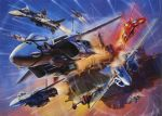 airplane canards cannon choujikuu_yousai_macross condensation_trail contrail epic fire_valkyrie fleet flying gunpod highres jet macross macross:_do_you_remember_love? macross_7 macross_frontier macross_plus mecha n.u.n.s. official_art realistic s.m.s. scan science_fiction sdf-1 space_craft tenjin_hidetaka u.n._spacy vf-0 vf-1 vf-11 vf-19 vf-1s vf-25 vf-27 vf-4 yf-19 yf-21