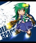 bare_shoulders blush boots dead_space detached_sleeves frog gloves green_hair hair_ornament hair_tubes honehone kochiya_sanae long_hair skirt smile snake solo touhou yellow_eyes