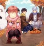boots bun_cover coat double_bun food gintama glasses japanese_clothes kagura_(gintama) maruki_(punchiki) pantyhose punchiki sadaharu sakata_gintoki scarf shimura_shinpachi squatting sweet_potato