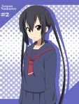 black_hair brown_eyes character_name ikari_manatsu k-on! long_hair nakano_azusa school_uniform serafuku twintails