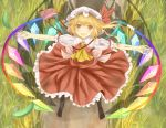 ascot bag blonde_hair bunchou_(bunchou3103) dirty dress flandre_scarlet grass open_mouth outstretched_arms rainbow_order red_dress red_eyes shoulder_bag side_ponytail smile solo the_embodiment_of_scarlet_devil touhou wings