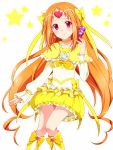 boots bow brooch bubble_skirt choker circlet cure_muse cure_muse_(yellow) dress fairy_tone frills gathers hair_ribbon heart jewelry long_hair magical_girl mekurata_meda orange_hair precure red_eyes ribbon ruffles shirabe_ako smile solo suite_precure white_background yellow_dress