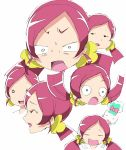 chypre_(heartcatch_precure!) creature expressions hanasaki_tsubomi heartcatch_precure! multiple_persona owarine_miku pink_eyes pink_hair precure white_background