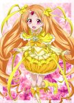 boots bow brooch bubble_skirt circlet cure_muse cure_muse_(yellow) dress frills gathers hair_ribbon heart jewelry long_hair magical_girl nakahira_guy orange_hair precure purple_background red_eyes ribbon ruffles shirabe_ako smile solo standing_on_one_leg star starry_background suite_precure yellow_dress