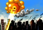 beam castform city cloud clouds creature destruction giant nintendo pokemon saboterian sky solo sun sunbeam sunlight