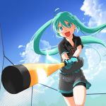 1girl :d ahoge aira_(exp) bat belt clouds fence foreshortening gloves green_eyes green_hair hatsune_miku highres long_hair musical_note open_mouth short sky smile solo twintails very_long_hair vocaloid