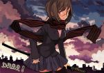 black_thighhighs bob_cut breasts brown_hair durarara!! pleated_skirt red_eyes scarf school_uniform short_hair skirt solo sonohara_anri striped striped_scarf sword thigh-highs thighhighs tsukii weapon zettai_ryouiki