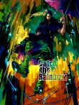 blackmore colorful english jojo_no_kimyou_na_bouken male mask midair power_lines rain reine_(artist) solo steel_ball_run umbrella