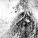 annoyed artist_request back fiery_wings fire fujiwara_no_mokou grey monochrome sketch solo spaetlese topless touhou traditional_media wings