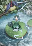 :d bad_id bag bird blue_hair boots fish from_above hat kawashiro_nitori lily_pad looking_up mitsuki32k nest open_mouth river short_hair sitting smile stickam touhou twintails wariza