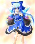alternate_costume alternate_hair_length alternate_hairstyle blue_eyes blue_hair cirno detached_sleeves hair_ribbon long_hair ribbon skirt touhou yurume_atsushi yurumeatsushi