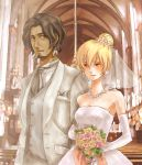 1girl bad_id blonde_hair bouquet bride brown_hair church couple dark_skin dress earrings elbow_gloves flower formal genderswap gloves good_end gothic_architecture jewelry kambei_shimada kyuzo lowres necklace nina-tb samurai_7 smile suit wedding wedding_dress