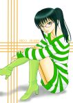 black_hair boots glasses green_eyes highres inu-ya-sha nico_robin one_piece one_piece:_strong_world ponytail shirt striped striped_shirt sweater sweater_dress