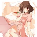 bamboo bamboo_forest blush brown_hair bunny bunny_ears bunny_tail carrot forest inaba_tewi jewelry nature necklace orange_eyes pendant rabbit_ears short_hair shushing solo tail touhou wink yamasan