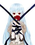 arisato316 bad_id blue_hair covering_mouth flower long_hair original red_eyes ribbon rose solo