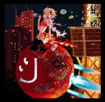 1girl absurdres album_cover bracelet bubble bubble_blowing building canon_(company) cover dj_kazu feather_boa headphones high_heels highres jewelry multicolored_hair official_art phonograph sticker strapless sushio thigh-highs tokyo_tower tubetop turntable