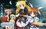 blonde_hair blue_eyes breasts brown_hair cape cleavage cleavage_cutout crescent_moon cresent_moon eating fang fate_testarossa fingerless_gloves food glass gloves hair_ribbon long_hair mahou_shoujo_lyrical_nanoha mahou_shoujo_lyrical_nanoha_the_movie_1st moon official_art open_mouth pizza pizza_hut product_placement purple_eyes red_eyes red_hair ribbon short_hair short_twintails skirt smile takamachi_nanoha thighhighs twintails wallpaper yuuno_scrya