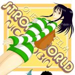 afro bag black_hair brook character_name franky glasses nico_robin one_piece one_piece:_strong_world ponytail red_eyes shirt short_hair striped striped_shirt sukemoja sweater sweater_dress title_drop yellow_background
