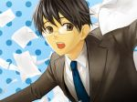 action black_hair blue bokuto flying_paper formal glasses highres hiyama_kiyoteru male necktie paper solo suit vocaloid