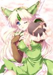 blonde_hair blue_eyes breasts bridal_gauntlets chocolate cleavage gift heart holding holding_gift incoming_gift riesz seiken_densetsu seiken_densetsu_3 tamiya_akito tongue valentine wink