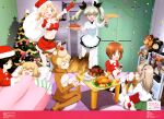 6+girls :d ;d absurdres anchovy animal_costume antlers anzio_school_uniform apron bandage bandaged_arm bangs bare_shoulders belt black_hair blonde_hair blue_eyes boko_(girls_und_panzer) bow breasts brown_eyes brown_hair cake chocolate_cake christmas_ornaments christmas_stocking christmas_tree cleavage closed_eyes confetti crop_top cup darjeeling drill_hair fang food frilled_pillow frills fruit fur_trim girls_und_panzer gloves green_hair green_skirt hair_bow hair_ribbon hairband hat highres holding holding_plate katyusha kay_(girls_und_panzer) long_hair long_sleeves medium_breasts midriff multiple_girls navel necktie nishizumi_miho nonna ogura_noriko one_eye_closed ooarai_school_uniform open_mouth pantyhose parted_bangs pasta pillow plate red_gloves reindeer_antlers reindeer_costume ribbon sack santa_costume santa_hat saucer seiza shimada_arisu short_hair sitting skirt sleeves_rolled_up smile star strawberry tea teacup turkey_(food) twin_drills white_legwear yokozuwari