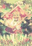 bad_id braid dress flower holding hoshi_torotoro long_hair original picture_frame smile twin_braids