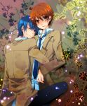 2boys angel_beats! blue_hair brown_eyes brown_hair highres hinata_(angel_beats!) hug multiple_boys otonashi_(angel_beats!) purple_eyes school_uniform short_hair usa_(cubic) violet_eyes wink
