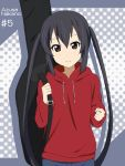 black_hair blush brown_eyes character_name guitar_case hooded_sweater hoodie ikari_manatsu instrument_case k-on! long_hair nakano_azusa solo twintails