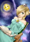 bare_shoulders blonde_hair book chair crown earrings hair_over_one_eye jewelry light_smile lips luma princess_rosalina rocking_chair rosalina rosalina_(mario) sitting space star_(sky) super_mario_bros. super_mario_galaxy wasabi_(legemd)