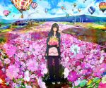 cardigan closed_eyes colorful colourful eyes_closed flower flower_field hair_flower hair_ornament highres holding hot_air_balloon ikura_wataru landscape original smile solo wind_turbine windmill
