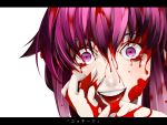 blood blood_on_face blood_on_hair bloody_tears close-up crazy_eyes face gasai_yuno highres letterboxed mine_(wizard) mirai_nikki purple_eyes purple_hair smile solo tongue translated violet_eyes yandere