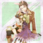 2girls ;d alvin_(tales_of_xillia) animal_ears bike_shorts black_gloves blonde_hair bolero boots bow brown_eyes brown_hair bunny_ears coat cropped_jacket dress elise_lutas elise_lutus flower frills gloves green_eyes hair_flower hair_ornament hair_ribbon hairband hand_on_waist height_difference leia_roland multiple_girls open_mouth pants pokopoko_pon ribbon ruffles short_hair sitting sitting_on_lap sitting_on_person size_difference smile tales_of_(series) tales_of_xillia title_drop wink