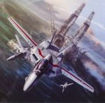 absurdres airplane choujikuu_yousai_macross cloud cockpit condensation_trail contrail daedalus fleet flying helmet highres ichijou_hikaru jet macross mecha ocean official_art oldschool pilot_suit prometheus_(ship) realistic scan science_fiction sdf-1 ship space_craft starfighter storm_attacker tenjin_hidetaka vf-1 vf-1a vf-1j