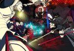 armor assassin_(fate/zero) berserker_(fate/zero) book bull caster_(fate/zero) chariot ea_(fate/stay_night) electricity excalibur fate/stay_night fate/zero fate_(series) fighting formal gae_buidhe gae_dearg gilgamesh glowing glowing_weapon gordius_wheel helmet kenja_tori lancer_(fate/zero) ox pant_suit polearm ponytail rider_(fate/zero) saber spear suit sword weapon