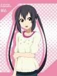 arm_grab black_hair brown_eyes casual character_name ikari_manatsu k-on! long_hair nakano_azusa open_mouth solo twintails