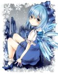 blue_eyes blue_hair bobby_socks cirno colored_eyelashes crystal dress footwear hair_ribbon high_heels highres ice perfect_cherry_blossom ribbon shoes short_hair shromann sitting snow snowflakes socks solo touhou wings