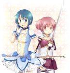 blue_eyes blue_hair blue_rose bow_(weapon) bubble_skirt cape cosplay costume_switch flower gloves hatiba kaname_madoka kirikuchi_riku magical_girl mahou_shoujo_madoka_magica miki_sayaka multiple_girls pink_eyes pink_hair rose short_hair short_twintails sword thigh-highs thighhighs twintails weapon zettai_ryouiki