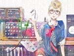 blonde_hair blue_eyes cable earrings glasses highres instrument jewelry necktie original pomodorosa pompadour risa_hibiki solo speaker synthesizer