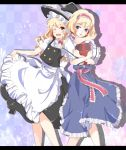 :d ;d alice_margatroid apron arm_around_neck bad_id blonde_hair blue_eyes book bow braid checkered checkered_background dress enje_(pixiv3289887) fang frills hair_bow hairband highres kirisame_marisa letterboxed light_particles long_hair multiple_girls open_mouth ruffles sash short_hair skirt skirt_hold skirt_lift smile touhou waist_apron wink yellow_eyes