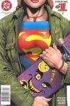 1girl alien bat_(symbol) bracelet chest chest. copyright_name dc_comics kryptonian lapel_pin nailpolish necklace plaid plaid_shirt ring s_shield skateboard sticker supergirl superman t-shirt