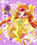 boots bow brooch bubble_skirt choker circlet cure_muse cure_muse_(yellow) dress earrings fairy_tone frills hair_ribbon happy heart highres jewelry karak_nishiki long_hair magical_girl orange_hair precure purple_background red_eyes ribbon ruffles shirabe_ako suite_precure