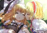 2girls alice_margatroid blonde_hair blush book bow braid bust capelet closed_eyes hairband hanabana_tsubomi hat hat_bow kirisame_marisa kiss long_hair multiple_girls ribbon short_hair single_braid sleeping touhou yuri